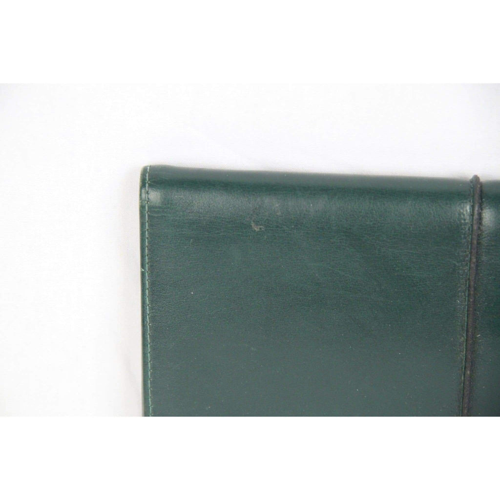 Lacavera Vintage Green Leather Long Clutch Bag Opherty & Ciocci