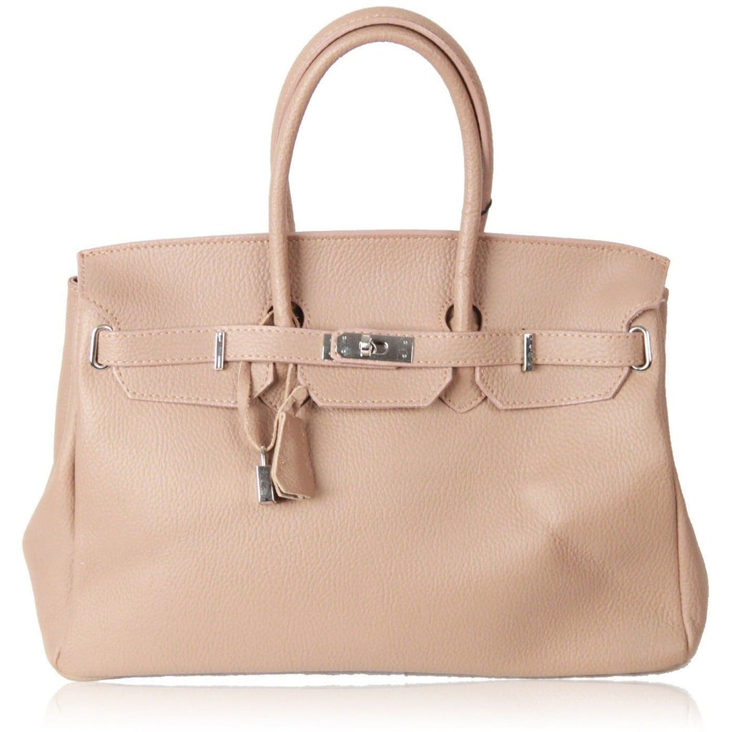 Made In Italy Beige Leather Top Handles Bag Satchel Opherty & Ciocci