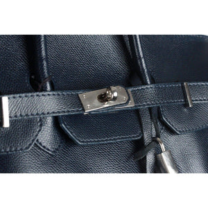 Made In Italy Blue Leather Top Handles Bag Satchel Opherty & Ciocci