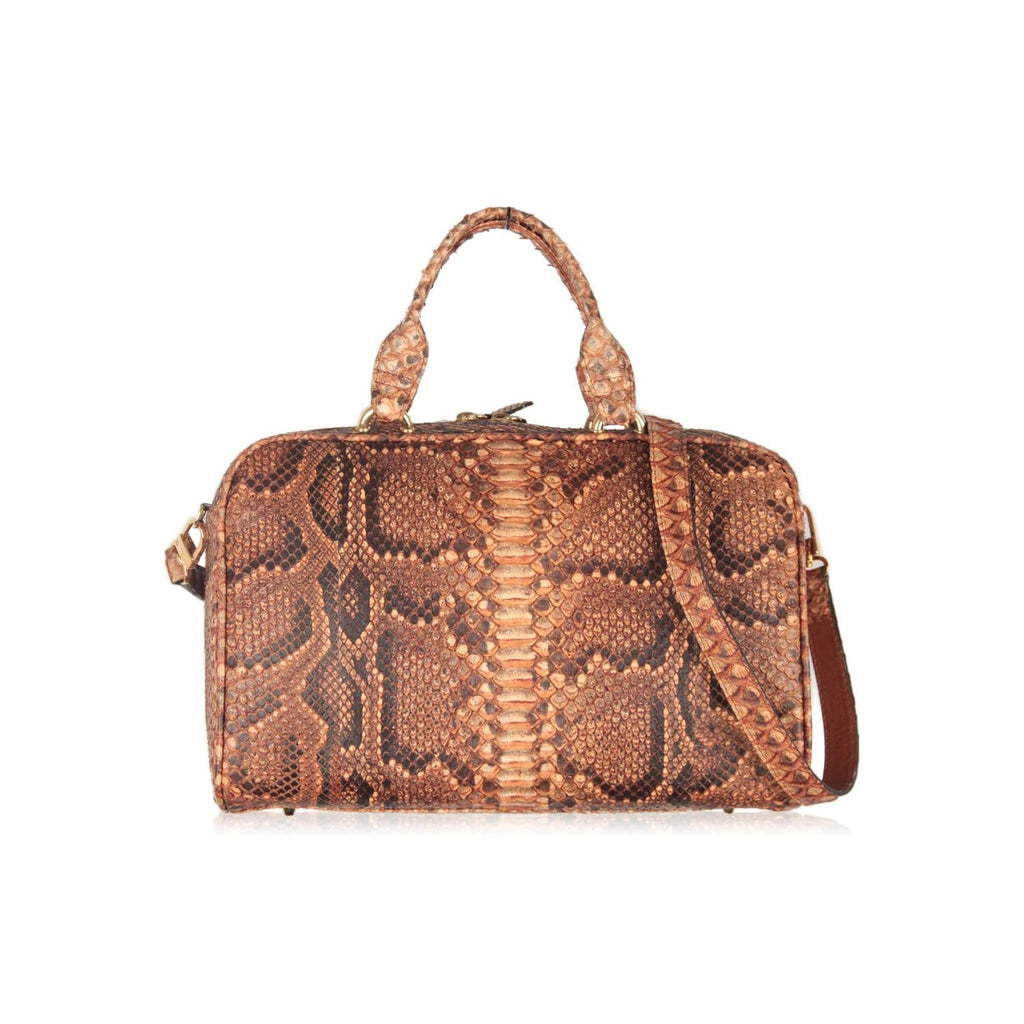 Snakeskin Satchel Top Handle Bag With Shoulder Strap Opherty & Ciocci