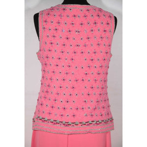 Vintage 1960S Pink Beaded Vest Top And Maxi Skirt Set Dress Made In Italy Opherty & Ciocci