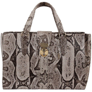Vintage Beige Python Leather Weekender Handbag Travel Overnight Bag Opherty & Ciocci