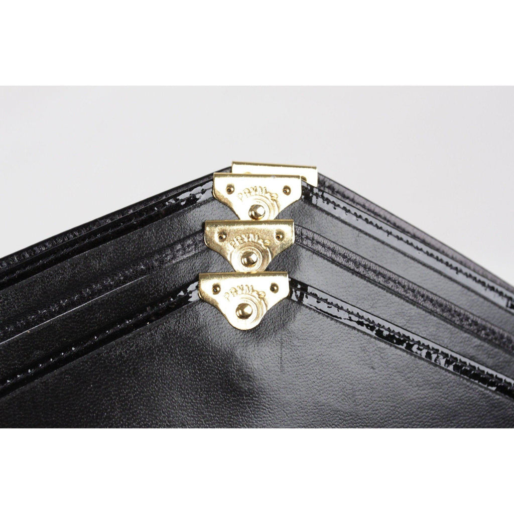 Vintage Black Leather & Patent Clutch Multi-Flap Bag Portfolio Purse Opherty & Ciocci