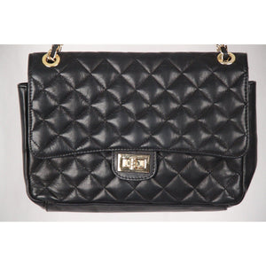 Vintage Black Quilted Leather Flap Shoulder Bag Opherty & Ciocci