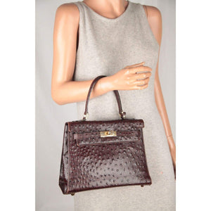 Vintage Brown Leather Ostrich Look Handbag Top Handle Bag Opherty & Ciocci