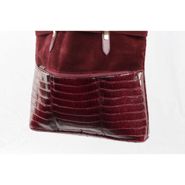 Vintage Burgundy Suede And Crocodile Tote Shoulder Bag Shopping Bag Opherty & Ciocci
