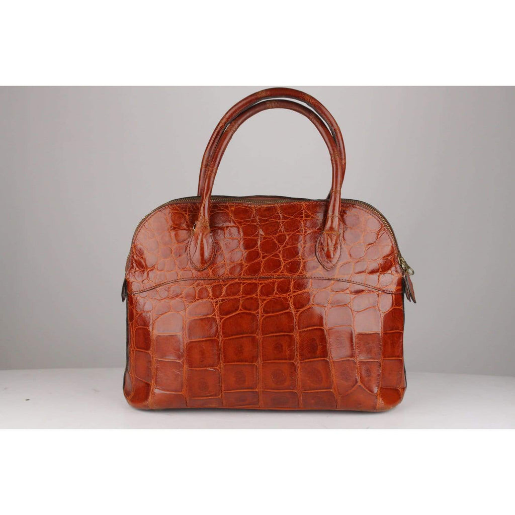 Vintage Crocodile Skin Brown Top Handles Bag Opherty & Ciocci