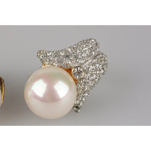 Vintage Faux Pearl And Crystals Clip On Earrings Opherty & Ciocci