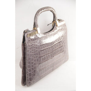 Vintage Gray Crocodile Leather Tote Handbag Purse Opherty & Ciocci