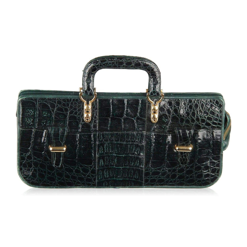 Vintage Green Crocodile Leather Handbag East West Bag Opherty & Ciocci