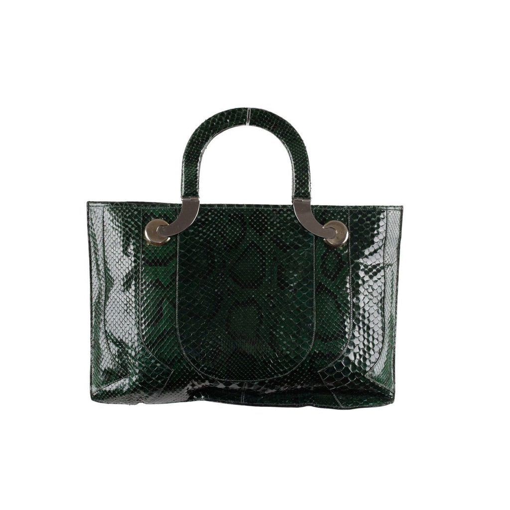 Vintage Green Reptile Snakeskin Leather Tote Handbag Purse Opherty & Ciocci