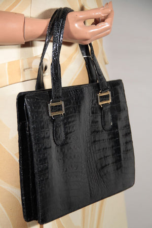Vintage Italian Black Crocodile Skin 1960S Handbag Purse Satchel Opherty & Ciocci