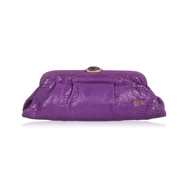 Vintage Purple Snakeskin Clutch Shoulder Evening Bag Opherty & Ciocci