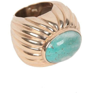Vintage Sterling Silver 925 Gilded Statement Ring Turquoise Cabochon Opherty & Ciocci