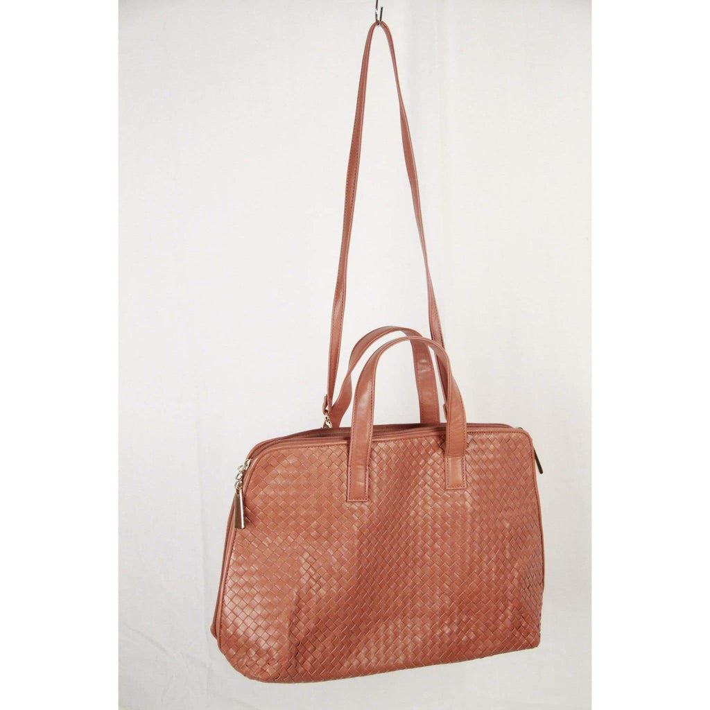 Vintage Tan Woven Leather Satchel Tote W/ Shoulder Strap Opherty & Ciocci