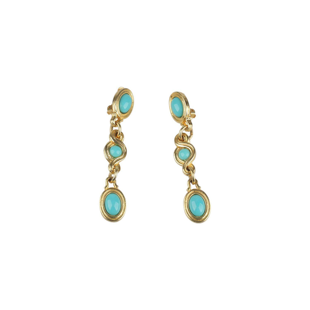 Vintage Turquoise Cabochon Dangle Earrings Opherty & Ciocci