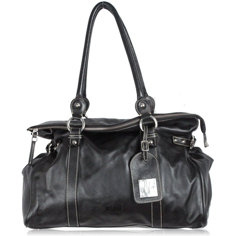 Black Leather Tote Shoulder Bag Opherty & Ciocci