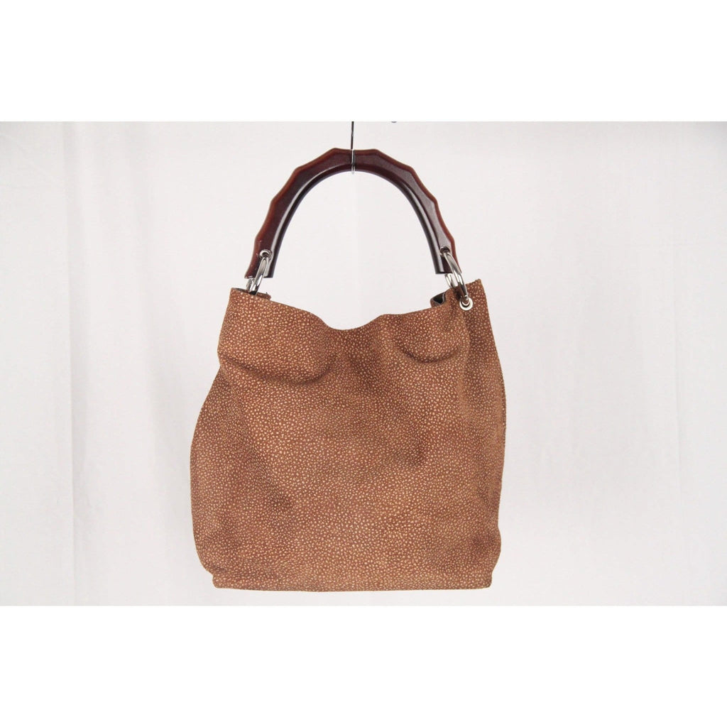 Brown Suede Tote Handbag With Bamboo Look Handle Opherty & Ciocci
