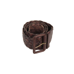Brown Women Woven Leather Wide Belt Size M/l Opherty & Ciocci