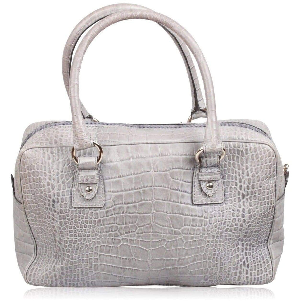 Made In Italy Gray Embossed Croc Leather Satchel Handbag Opherty & Ciocci