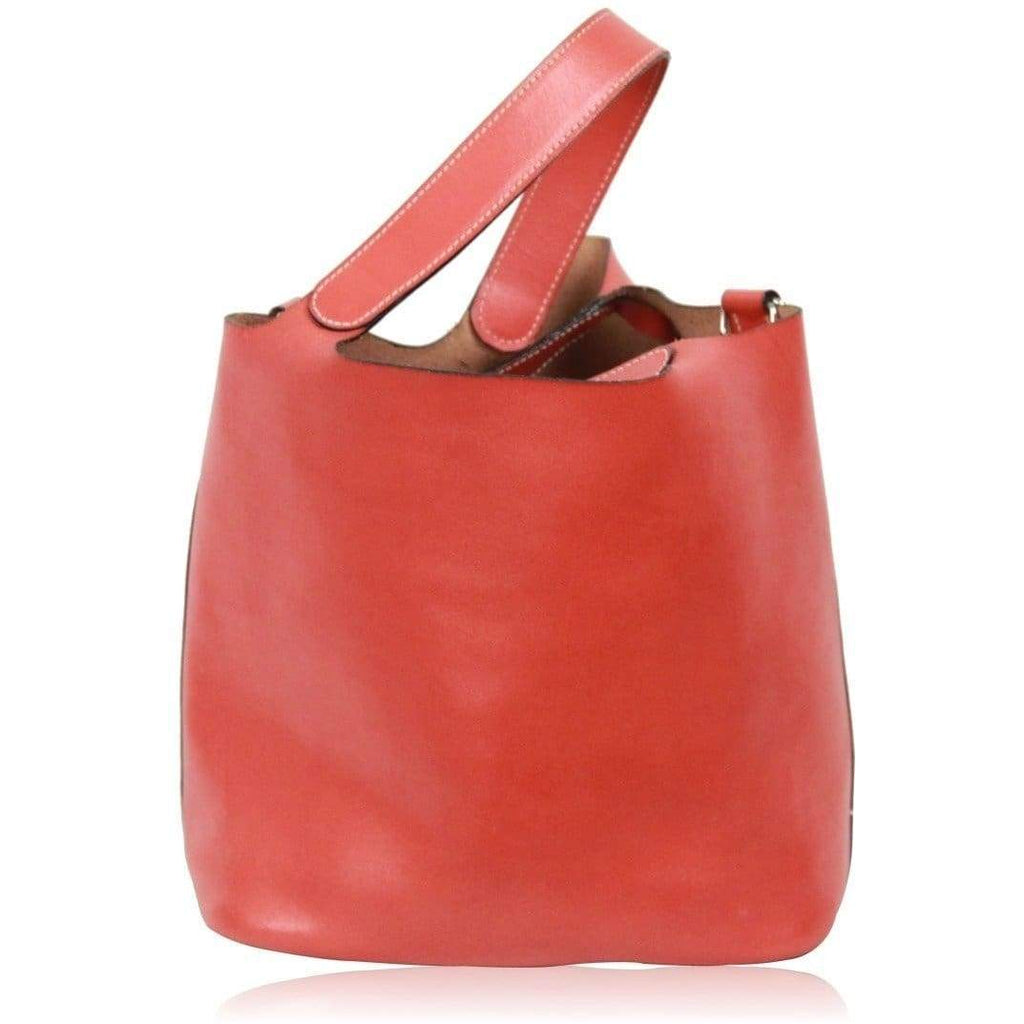 Made In Italy Orange Leather Bucket Bag Handbag Opherty & Ciocci