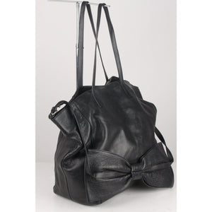 Black Leather Tote Shoulder Bag With Big Bow Opherty & Ciocci