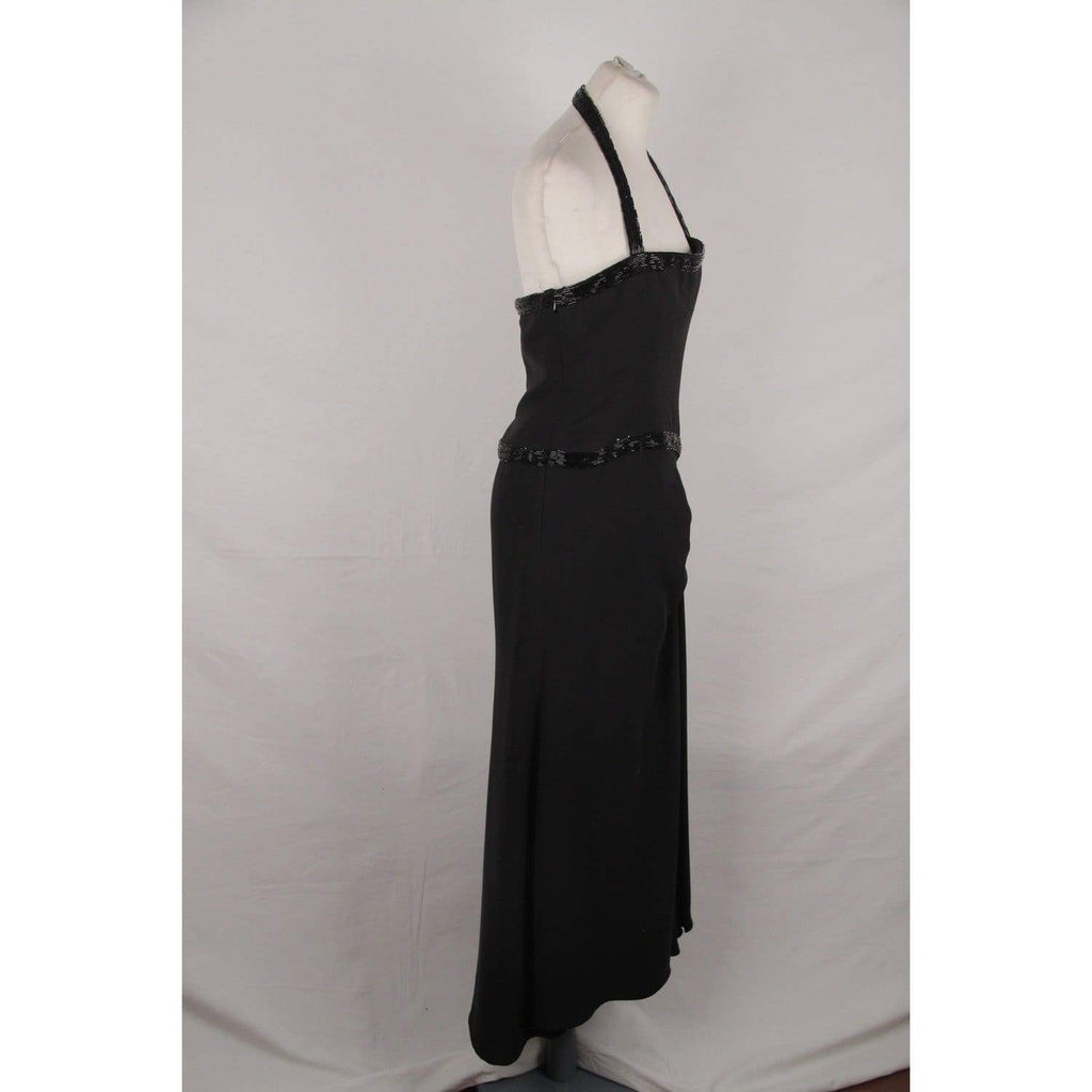 Valentino Black Silk Halterneck Gown Evening Dress Size 10 Opherty & Ciocci