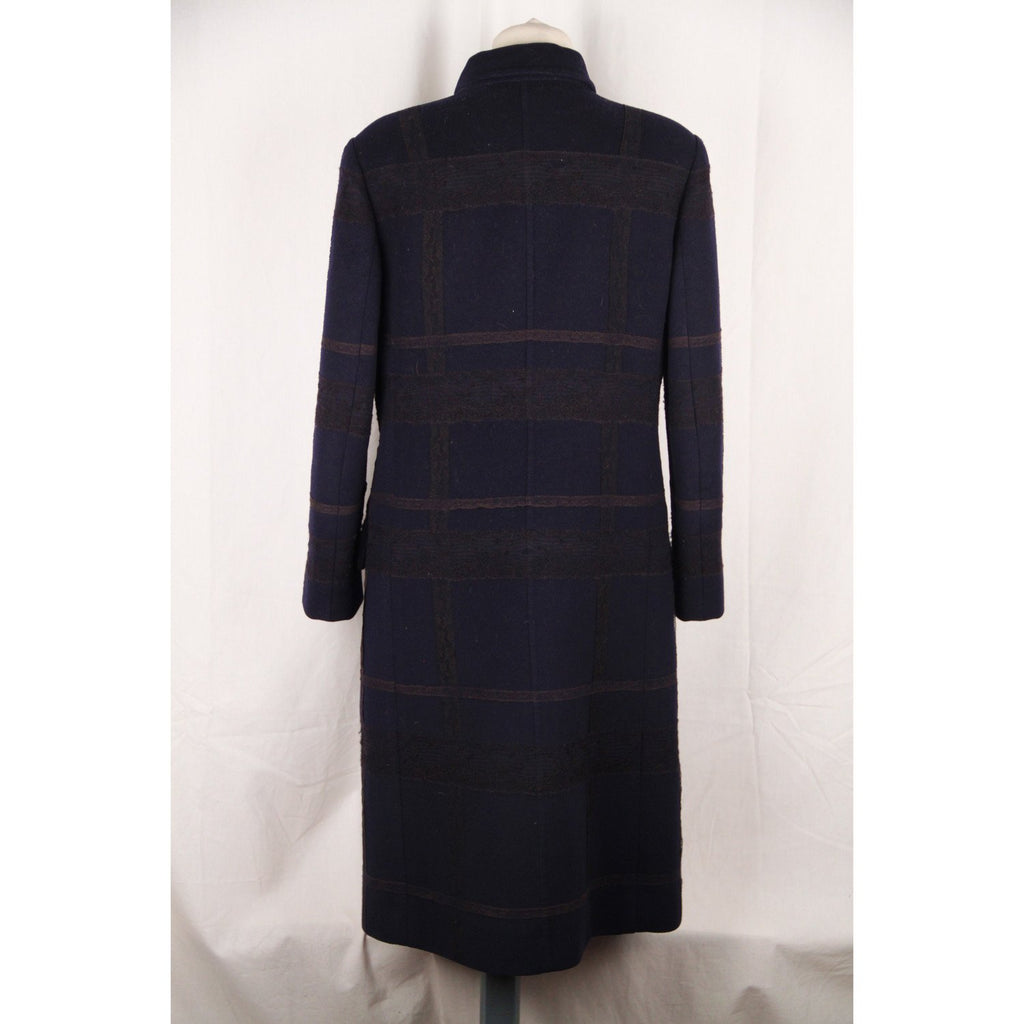 VALENTINO Blue Wool COAT with Lace Trim Size 6