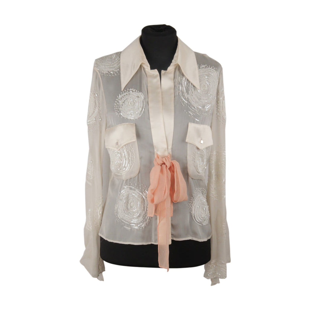 Valentino Chiffon Embellished Blouse Shirt With Bow Size 6 Opherty & Ciocci