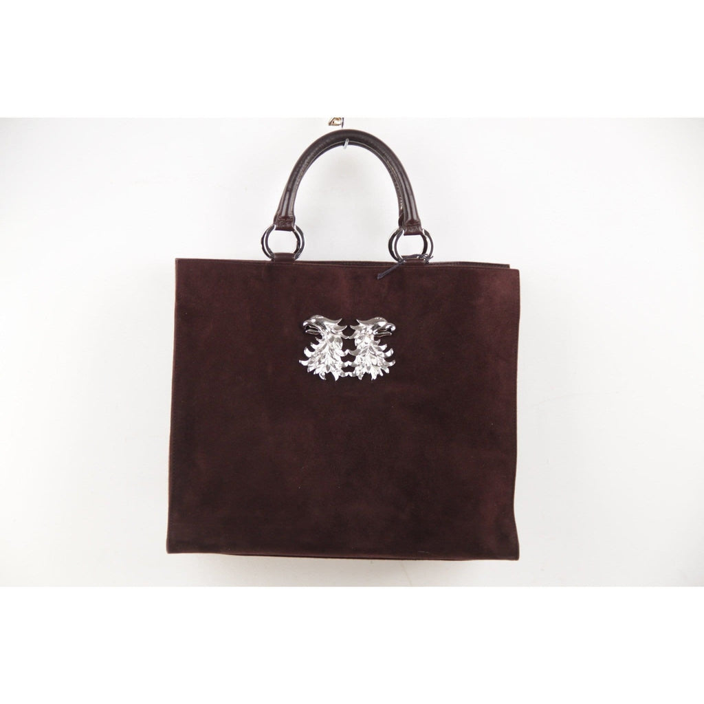 Valentino Garavani Brown Suede Leather Tote Shopping Bag Opherty & Ciocci