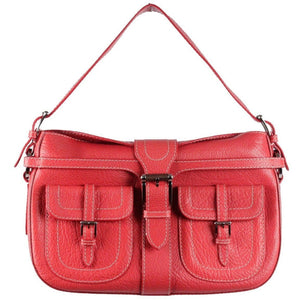 Valentino Garavani Red Leather Shoulder Bag W/ Front Pockets Opherty & Ciocci
