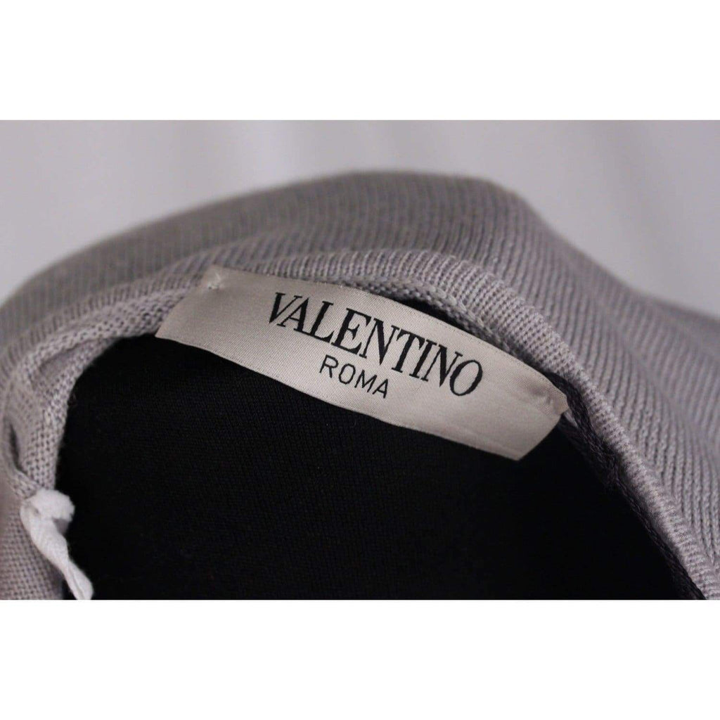 Valentino Light Gray Wool Embellished Jumper Size 40 Opherty & Ciocci