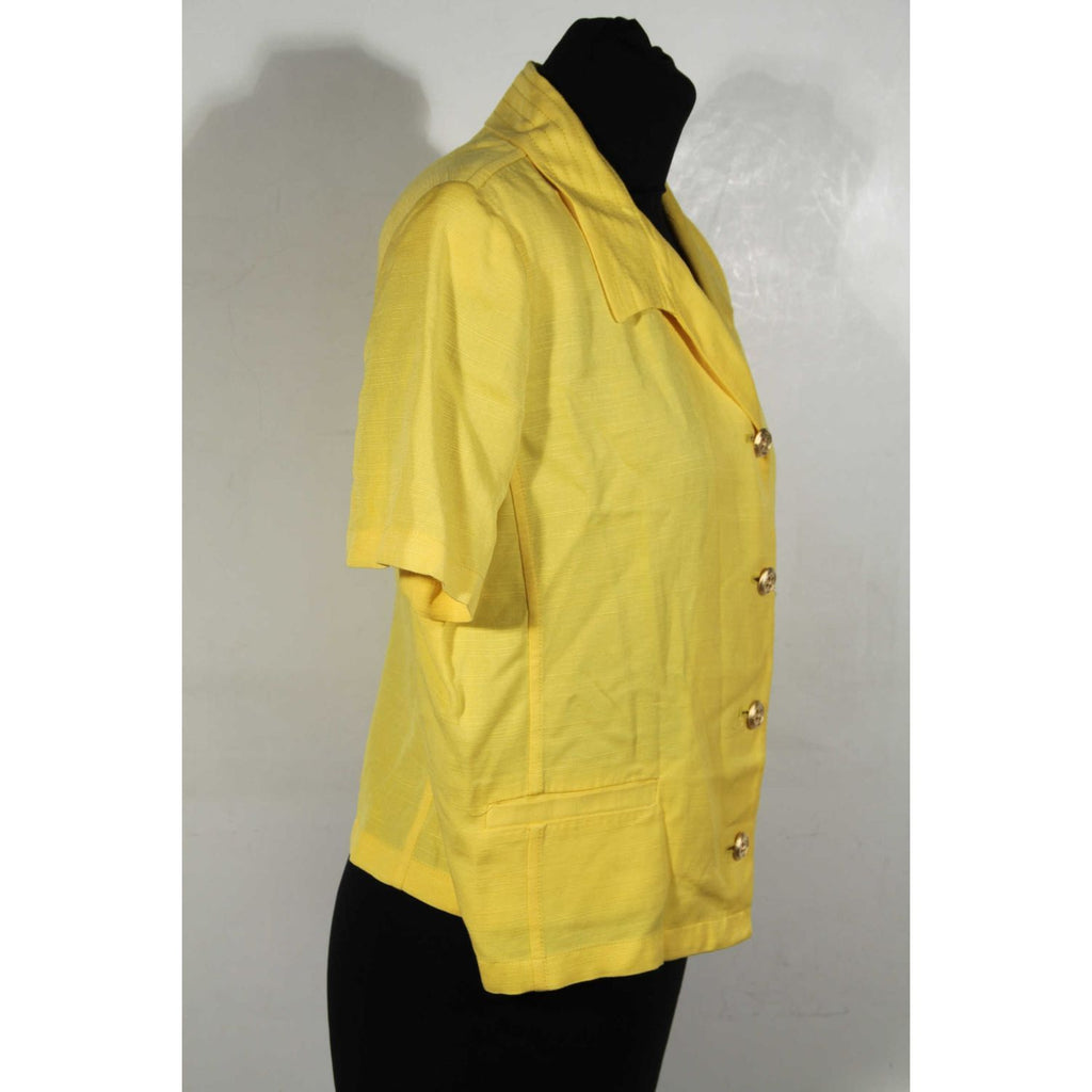 VALENTINO MISS V Yellow Viscose & Linen SHORT SLEEVE JACKET Size 46