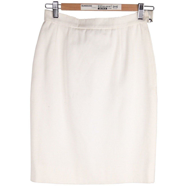 Valentino Night Vintage White Cotton Blend Pencil Skirt Size 40 6 Opherty & Ciocci