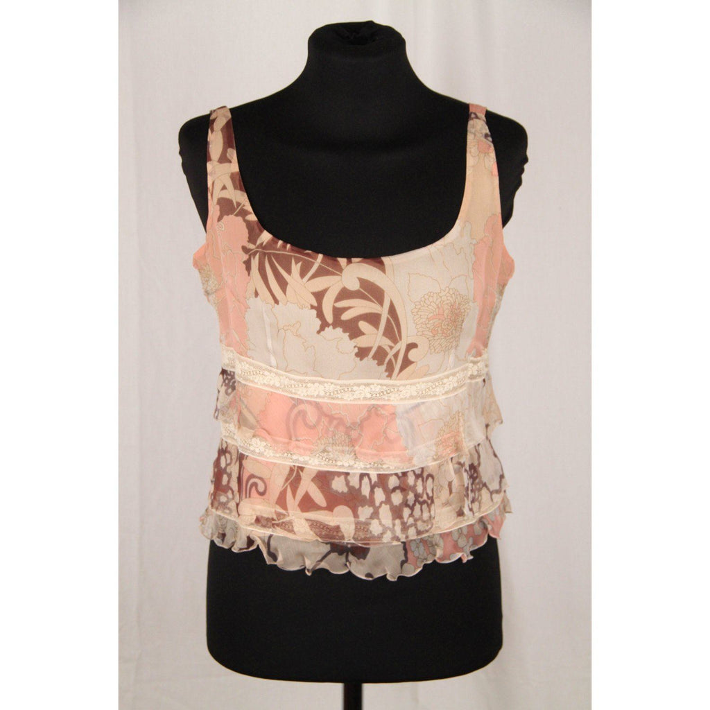 Valentino Pink & Beige Silk Sleeveless Top With Ruffles Size 42 Opherty Ciocci