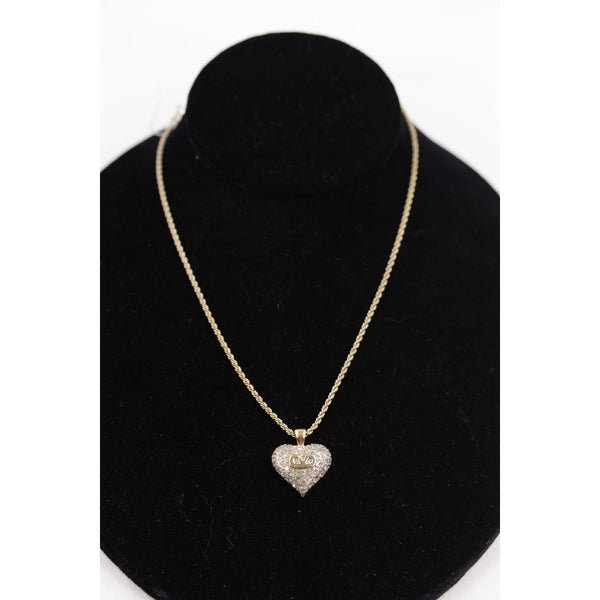 VALENTINO Vintage Gold Metal CHAIN NECKLACE with HEART Pendant