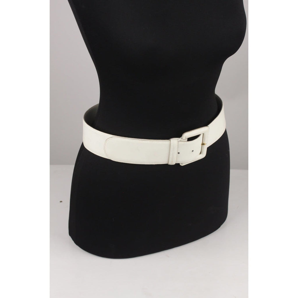 Vintage White Leather Women Belt Opherty & Ciocci