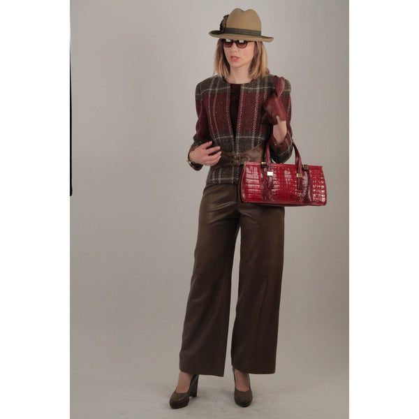 Valentino Wool Plaid Checkered And Leather Suit Jacket Pants Set Opherty & Ciocci