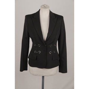 VERSACE Black BLAZER Jacket with LACE Detail SIZE 40