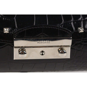 Versace Black Embossed Leather Cilynder Box Bag With Studs Opherty & Ciocci