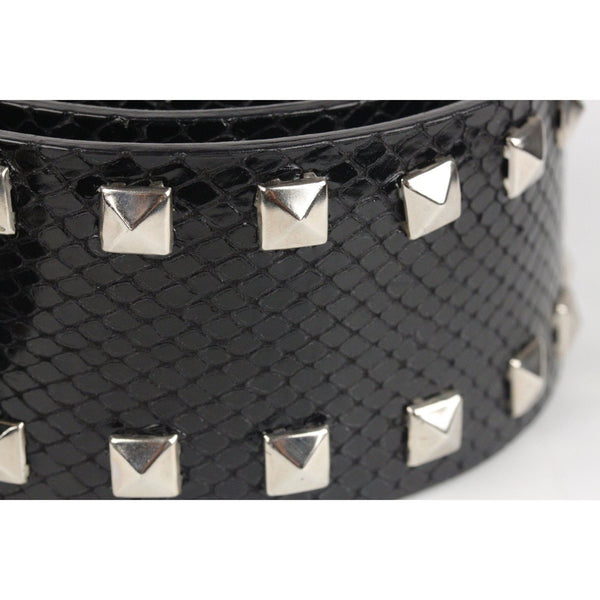 Versace Black Embossed Wide Studded Belt With Medusa Buckle Size 85/34 Opherty & Ciocci