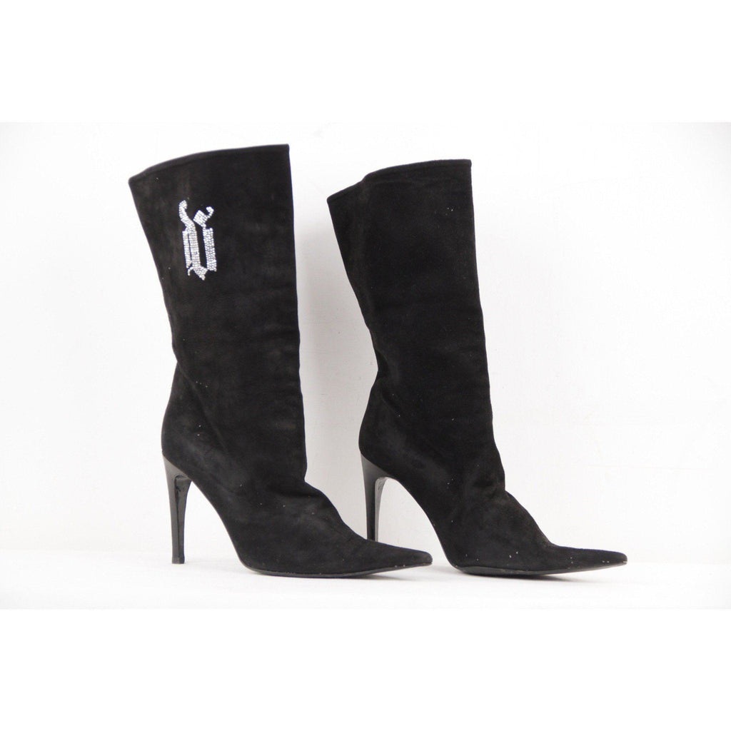 Versace Black Suede Mid Calf Boots Stiletto Heels Size 39 It Opherty & Ciocci