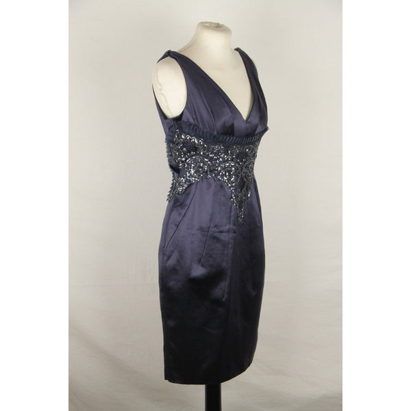 VERSACE Blue cotton & Silk V NECK Sheath Dress with Sequins SIZE 42