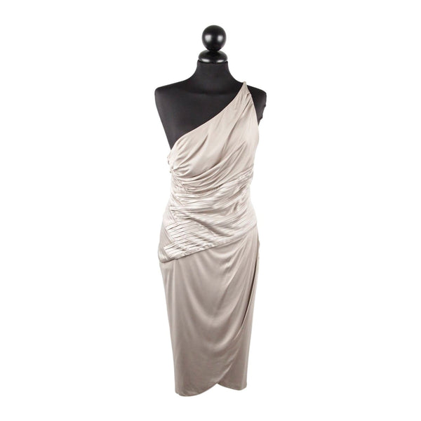 Versace Gray Jersey One Shoulder Sheath Dress W/ Pleating Size 42 Opherty & Ciocci