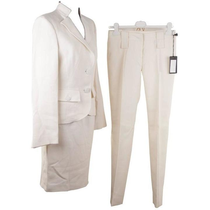VERSACE Ivory Wool 3 PIECES SET Blazer Skirt Trousers SUIT Medusa SIZE 40