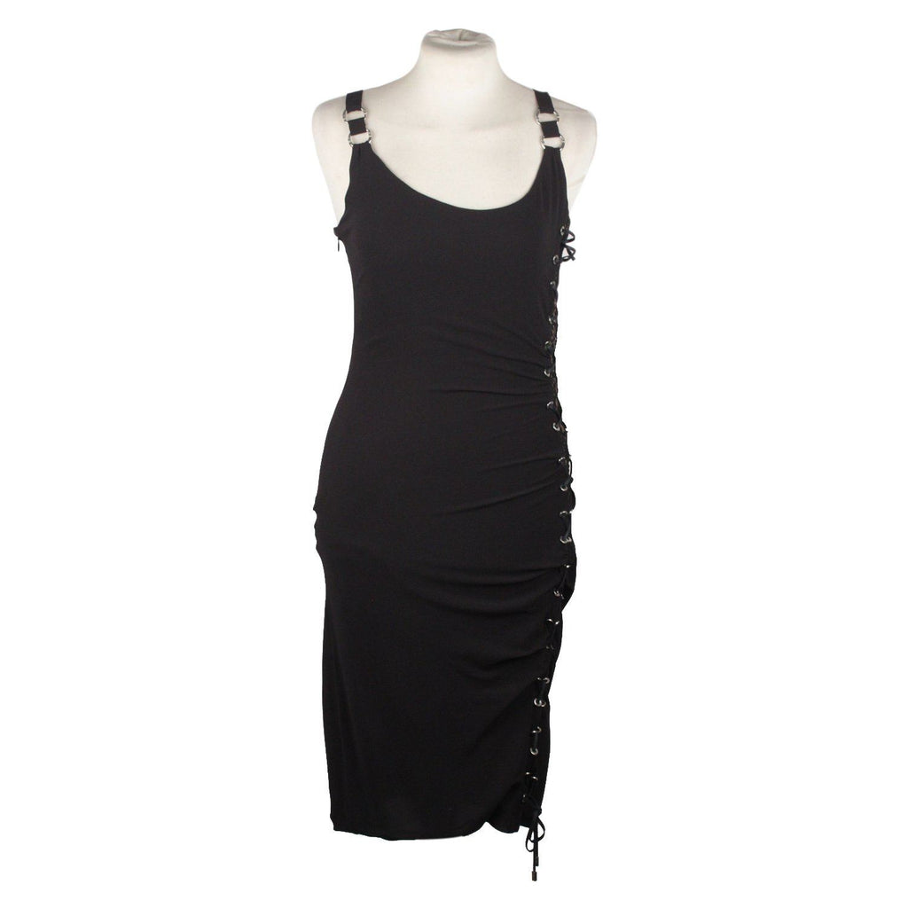Little Black Dress With Lace Up Detail Opherty & Ciocci