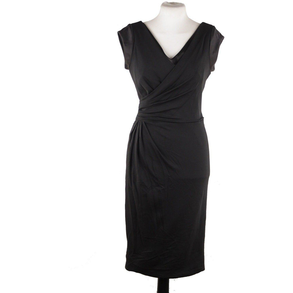 Versace V Neck Little Black Dress Sheath W/ Drape Front Size 40 Opherty & Ciocci