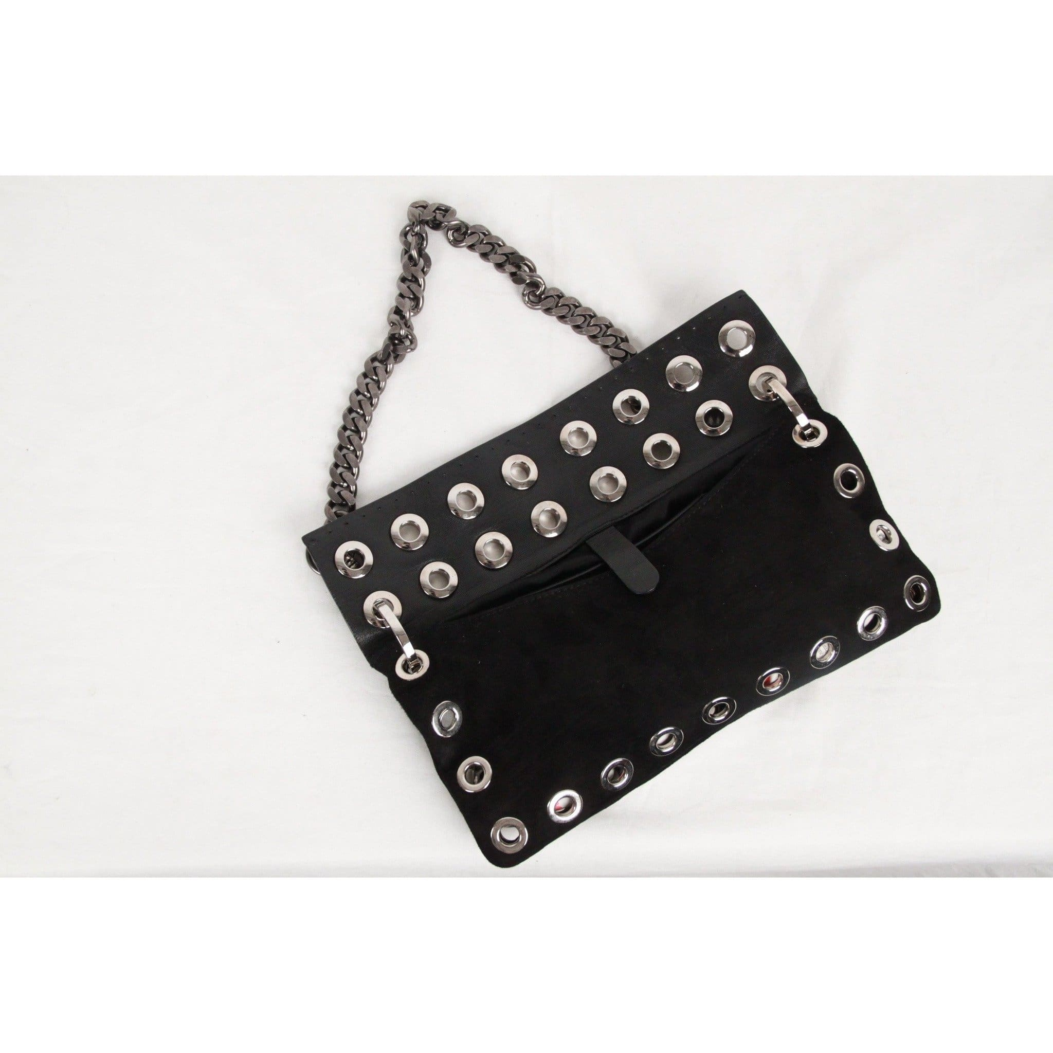 203e37a9d3 Versus Versace Vintage Black Suede   Leather Rivet Shoulder Bag Opherty    Ciocci