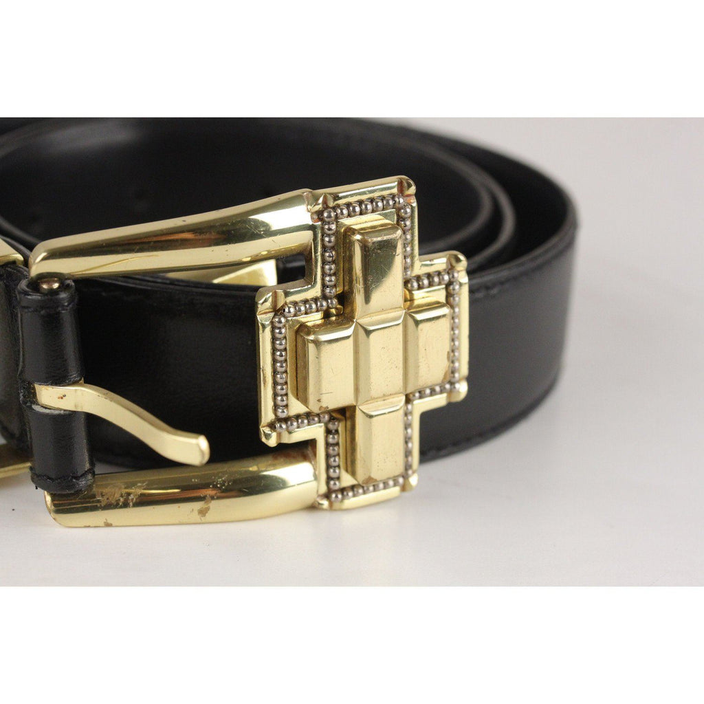 Vintage Black Leather Belt Opherty & Ciocci