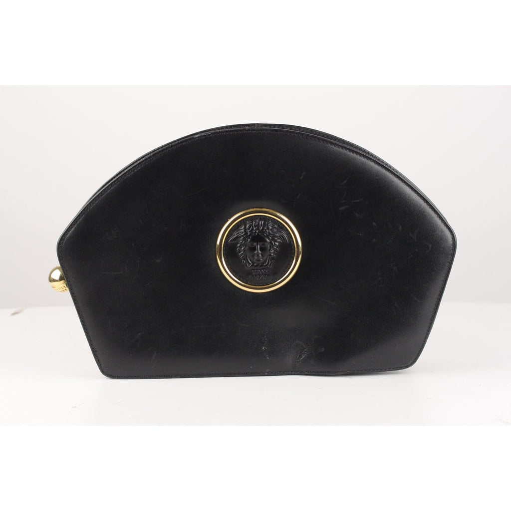 Vintage Black Leather Medusa Clutch Bag Opherty & Ciocci